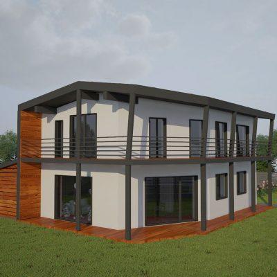 Двухэтажный СИП коттедж