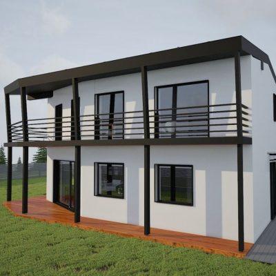 Двухэтажный СИП коттедж: терраса