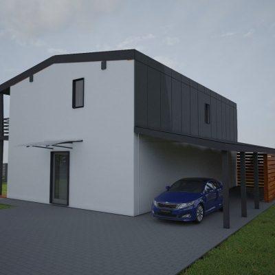 Двухэтажный СИП коттедж: навес для авто