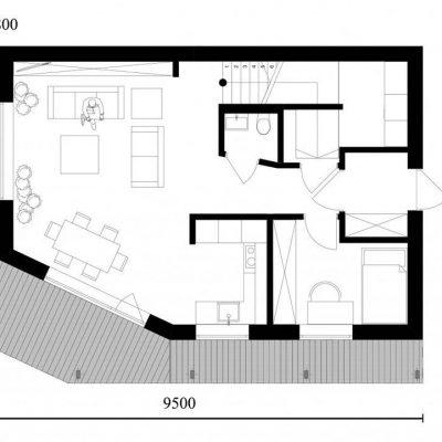 Двухэтажный СИП коттедж: планировка первого этажа