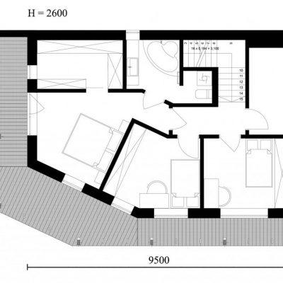 Двухэтажный СИП коттедж: план второго этажа