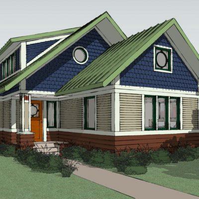 Двухэтажный СИП дом: вид с улицы