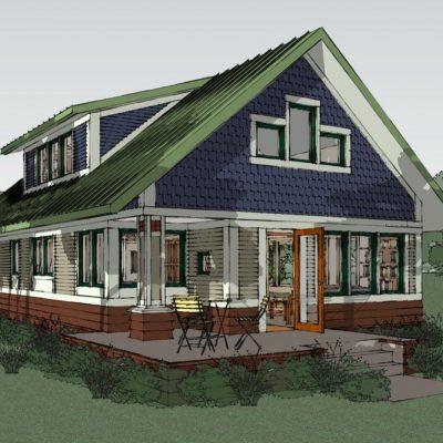 Двухэтажный СИП дом: задний двор