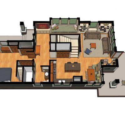 Двухэтажный СИП дом: 1 этаж