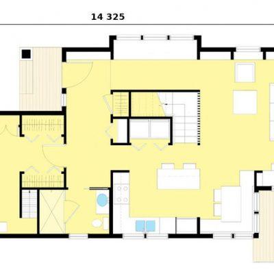 Двухэтажный СИП дом: 1 этаж, планировка