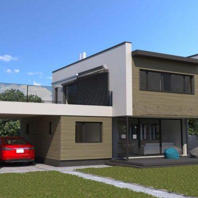 Современный СИП дом: задний двор