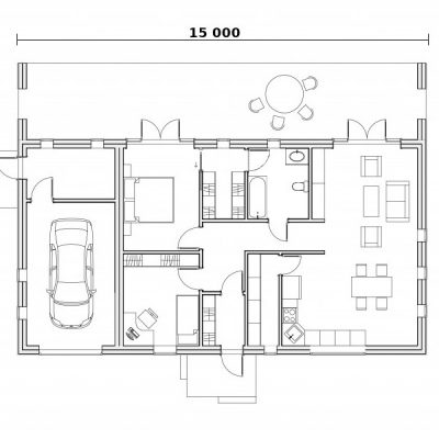 Дом с широким фасадом: планировка