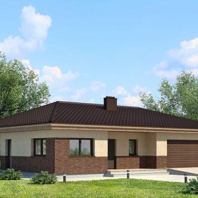 Дом с большим гаражом: фасад дома