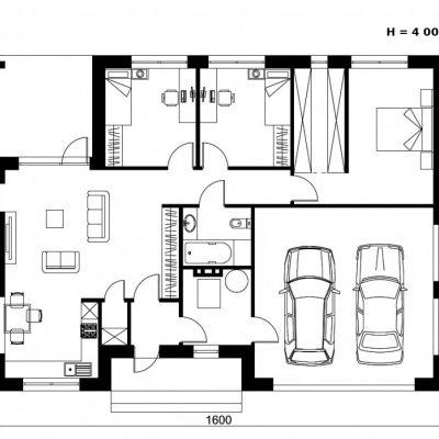 Дом с большим гаражом: планировка