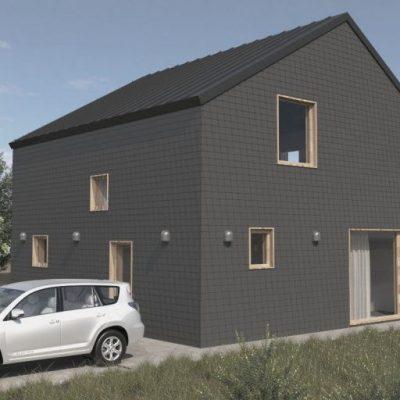 СИП дом квадратного сечения: площадка для авто