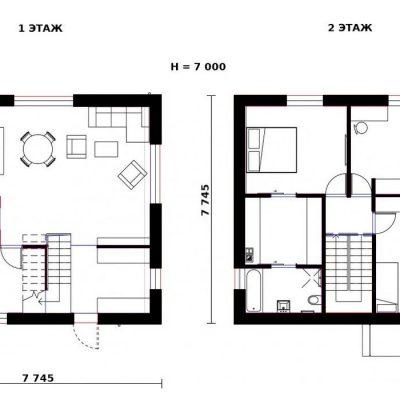 СИП дом квадратного сечения: планировка