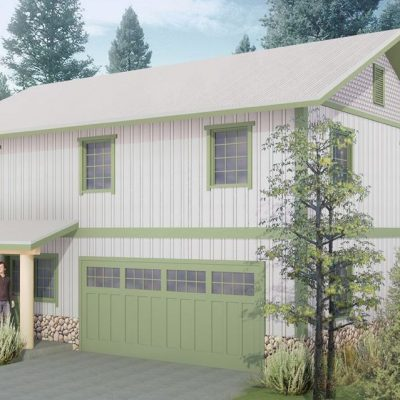 Загородный СИП дом: гараж