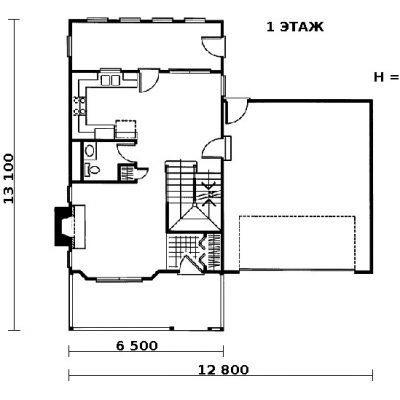 Дом с верандой: 1 этаж