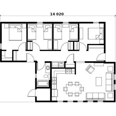СИП дом с 4 спальнями: планировка