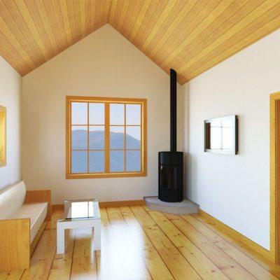 Загородный дом из СИП панелей: гостиная
