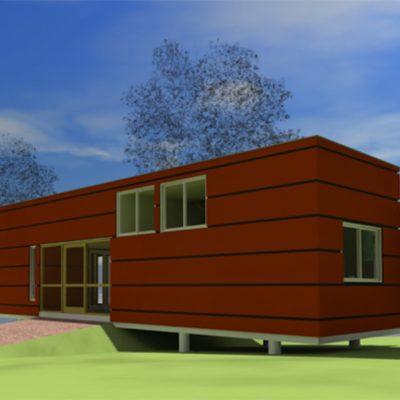 Дом на сваях из SIP панелей: тыльная сторона дома