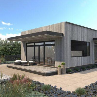 Дом кубической формы: задний фасад дома