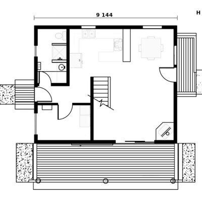 Двухэтажный СИП дом: план первого этажа