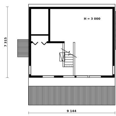 Двухэтажный СИП дом: план второго этажа