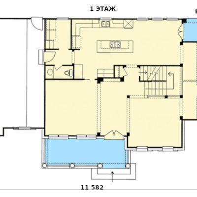 Дом для большой семьи: 1 этаж