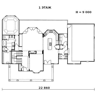 Загородный дом из СИП панелей: 1 этаж
