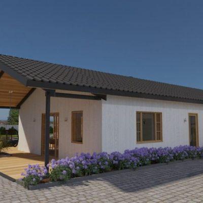 L-образный SIP дом: передний фасад
