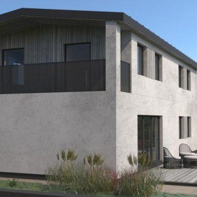 Двухэтажный СИП дом: балкон
