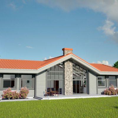 Скандинавский СИП дом: задний фасад