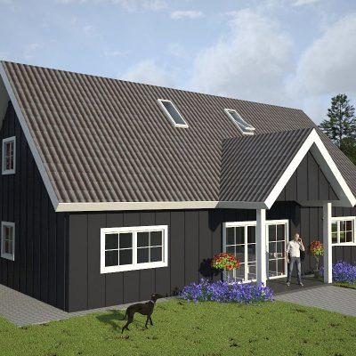 СИП дом с двускатной крышей: передний фасад