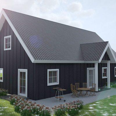 СИП дом с двускатной крышей