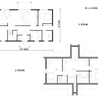 СИП дом с двускатной крышей: планировка